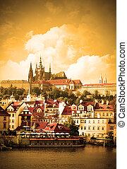 Prague - Vltava river and cityscape of Prague, Chech...