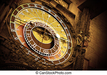 Old astronomical clock on Old Town Hall, Prague, Czech...