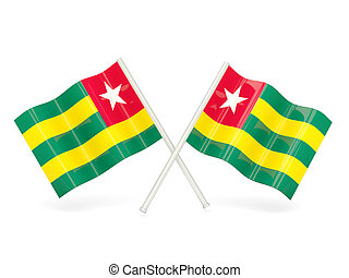 Flag of togo - Two wavy flags of togo isolated on white