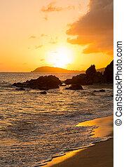 Sunset off coast of St Thomas