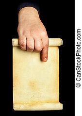mão, segurando, manuscrito