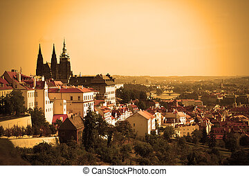 Prague castle - View on the Prague castle sepia toned