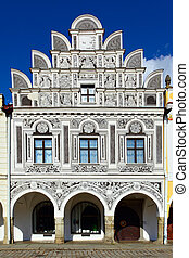 Renaissance style house - Facade of the house in Telc town,...