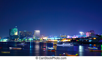 Pattaya - Night view of the Pattaya city, Thailand