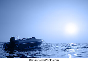 Speedboat - Motorized boat and sea at sunrise