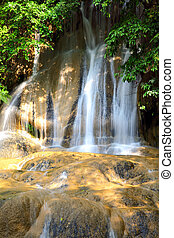 Waterfall - Natural spring waterfall in forest (long...