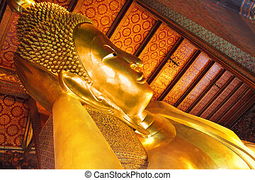 Lying Buddha - Lying Golden Buddha in Wat Pho temple,...