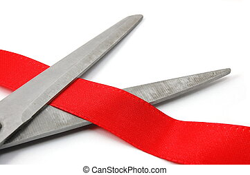ceremonial opening - scissors and red ribbon isola