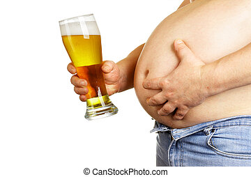 Beer belly - Man with beer glass isolated over white...