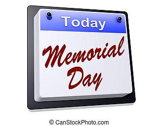 """Memorial Day - One day Calendar with """"Memorial Day"""" on a..."""