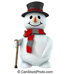 3d snow man with black hat and cute smile