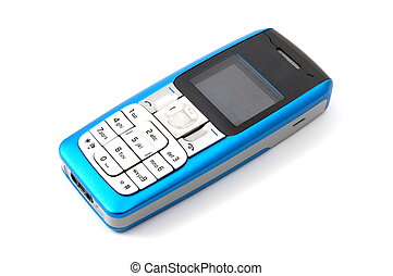 isolated cell phone - blue cell phone isolated on white...