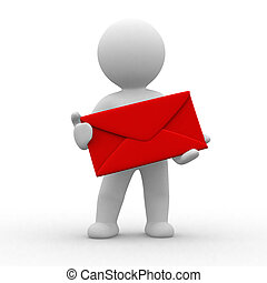 Human with envelope