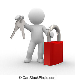 3d key - 3d human with key and locker in hands