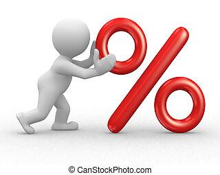 Percent symbol - 3d human character that push a big percent...