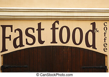 Stop fast food - Gate of closed fast food cafe closeup