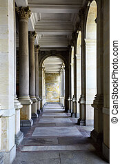 Colonnade with thermal water at Karlovy Vary, Czech Republic...