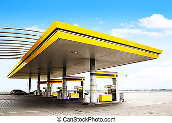Gas station - Gas refuel station with yellow roof close-up