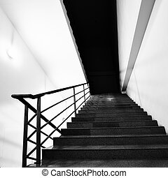 Stairs - Wide angle shot of stairs. Black and white image