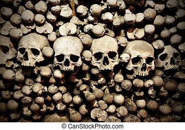 Skulls and bones in the bone chapel in Kutna Hora, Czech...