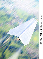 Paper plane - Aerial view in motion blur and paper plane