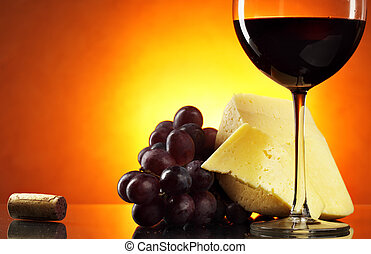 Still-life with red wine - Still-life with grapes, cheese...