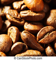 Coffee beans close-up, may be used as background. Shallow...