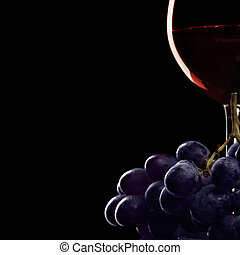 Grapes and wine - Still-life with glass of red wine and...