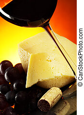 Grapes, cheese and red wine - Still-life with grapes, cheese...