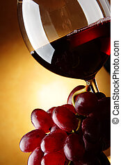 Grapes and red wine - Still life with bunch of grapes and...