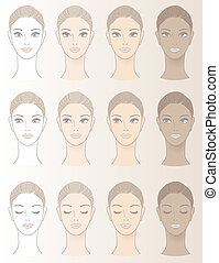 Chart of Beautiful Woman complexion - Without skin color and...