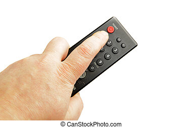 Hand with remote control isolated over the white background...