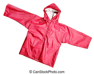 Red raincoat - Children's wear - Red raincoat isolated over...
