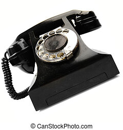Vintage phone isolated over the white background