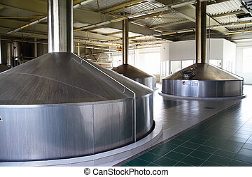 Brewery - Modern brewery - workshop with steel fermentation...
