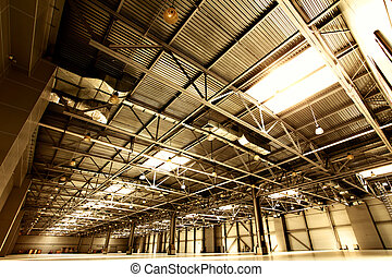 Warehouse - Wide angle shot of empty warehouse sepia toned