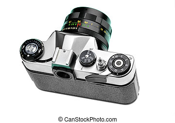 SLR camera from above isolated over white background