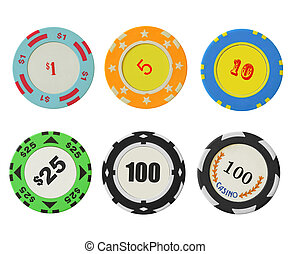 Casino chips isolated over the white background