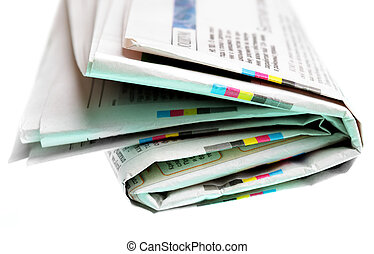 Newspaper close-up isolated over white background