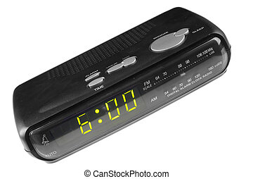 Digital alarm clock radio isolated over white background