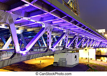 Bridge - Modern bridge with illuminations at night. Moscow....