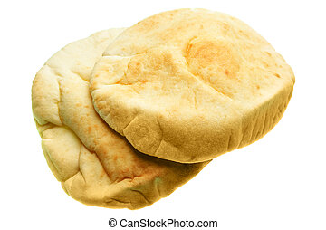 Pita close-up, isolated over the white background