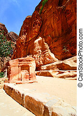 Ancient nabataean sanctuary at Petra - Mountains and ancient...