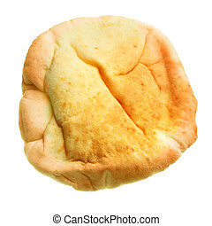 Pita closeup, isolated over the white background