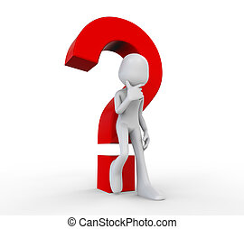 3D Human with a Question Mark isolated on white background....