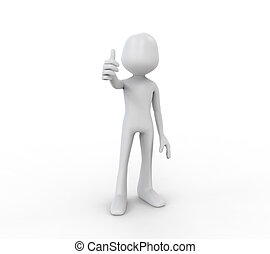 3D Human Showing with the Thumb Up isolated on white...