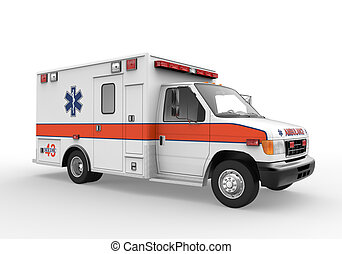 Ambulance isolated on white background 3D render