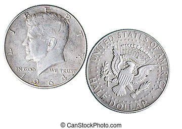 Coin with Kennedy portrait - Half dollar coin with J.F....