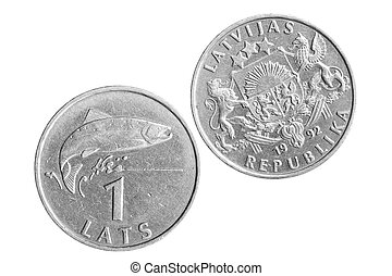 Latvian Lat - One Latvian Lat Coin isolated over white...