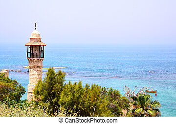 Mosque and sea. Tel Aviv - Yaffo, Israel